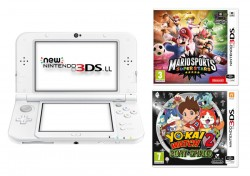 New Nintendo 3DS XL Pearl White + Mario Sports + Yo-Kai Watch 2