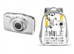 Nikon CoolPix S33 bílý + batoh