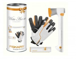 Fiskars bílá sekera X7 + bílý ostřič XSharp + bílé rukavice (sada)
