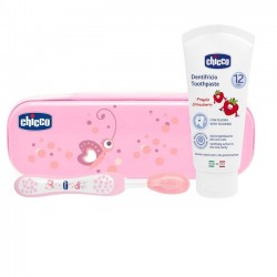 Chicco sada kartáčku na zuby, pasty a růžového pouzdra