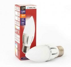 LED žárovka ABILITE / E27 / 4,5W / 350lm / 12xSMD5630 / 150°/ 230V / teplá bílá / svíčka