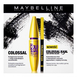 Maybelline Zestaw The Colossal Volum Express Mascara tusz do rzęs 100% Black+ 10,7ml + The Colossal Kajal 12H kredka do oczu Extra Black 0,35g
