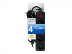 Přepěťová ochrana Whitenergy STANDARD, 4 zásuvky, 1.8m, černá