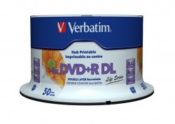 DVD+R Verbatim DL 8,5 GB Printable 8x (cake 50 ks.)