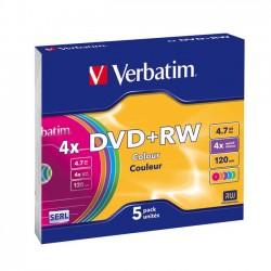 DVD+RW Verbatim 4.7GB 4x slim - 5 ks.