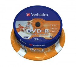 DVD-R Verbatim 16x Printable (cake 25 ks.)