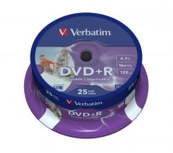 DVD+R Verbatim 16x Printable (cake 25 ks.)