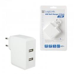 Síťová nabíječka 2x USB, 17W LogiLink
