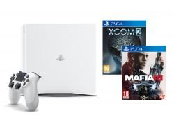 Sony PlayStation 4 Slim 500GB bílý + Mafia III + Xcom 2
