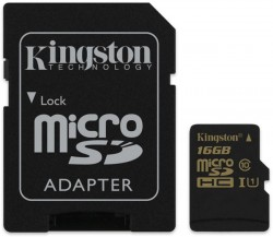 Karta microSDHC 16GB Kingston class 10 UHS-I s adaptérem SD [SDCA10/16GB]