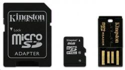 microSD 8GB Kingston + čtečka microSDHC USB 2.0 + 2 adaptéry, G2 Class 10